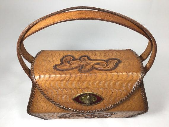 Tooled Leather Purse, Small Vintage Tooled Leather