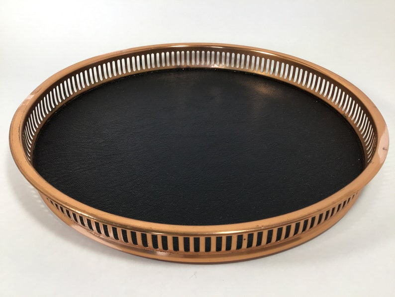 Coppercraft Copper Tray 13 Inch Round Copper Sided Tray