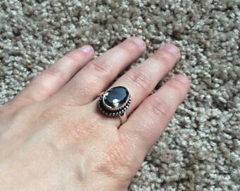 Vintage gray gemstone ring