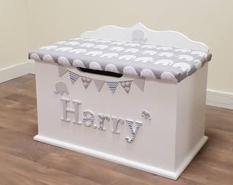 Personalised Toy Box Custom Bespoke Wooden Large Toybox Girls Boys Children Star Chest Elephant Kids
