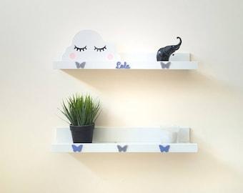 Personalised Wall Shelf Shelves Bookshelf Book Storage Nursery Boy Girl Kids Butterfly Elephant Star