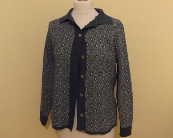 vintage 60s patterned blue mod cardigan crimplene 12 14 medium