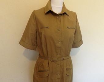 vintage shubette 80s shirt waister midi dress khaki 10 8 with tag