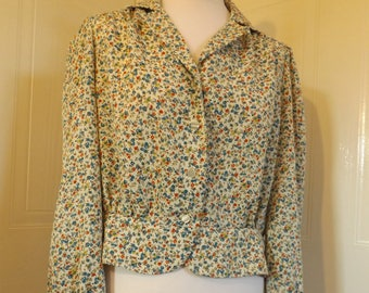 vintage 70s ditsy print floral blouse hippie boho small 10 12