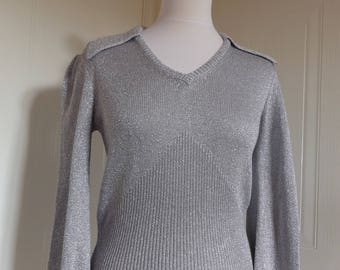 1970s vintage silver metallic mary quant jumper pullover small 8 10