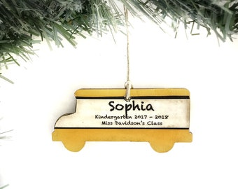 Personalized School Ornament, Yellow School Bus Ornament, School Bus Driver Gifts, Personalized Bus Ornament, Personalized Teacher Ornament