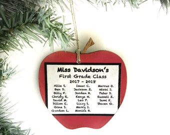 Personalized Teacher Ornament, Personalized Apple Ornament, Teacher Ornament Personalized, Teacher Gifts From Class, Teacher Christmas Gift