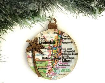 Personalized Tropical Trip Ornament, Beach Ornament, Personalized Vacation Ornament, Travel Map Ornament, Cruise Ornament, Beach Wedding