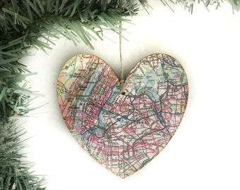 New York City Map Ornament, NYC Map Ornament, New York City Christmas Ornament, New York City Ornament, Manhattan Ornament
