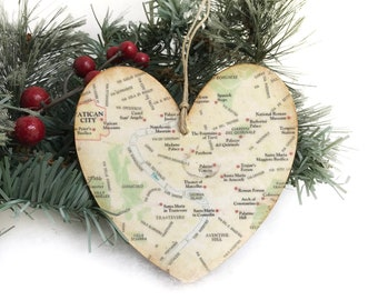 Personalized Rome Ornament Map Christmas Italy Trip Souvenir