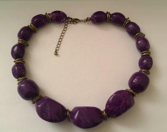 chunky purple plastic bead necklace