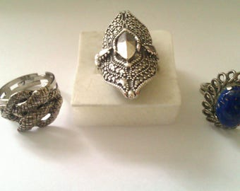3 silver coloured adjustable rings