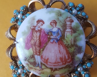 vintage ceramic  fragonard brooch