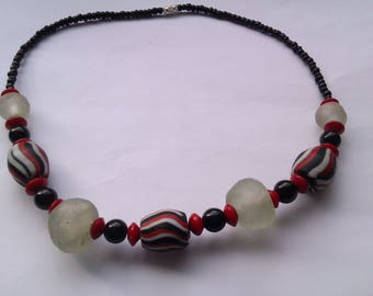 clear and striped glass bead necklace