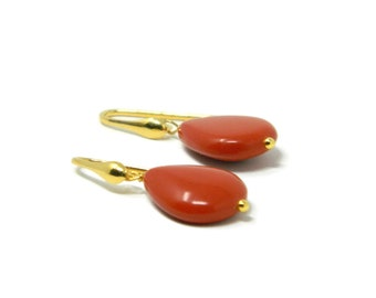 Gilded Silver Hook Earrings with Small Flat Drops of Sardinia Red Coral Paste