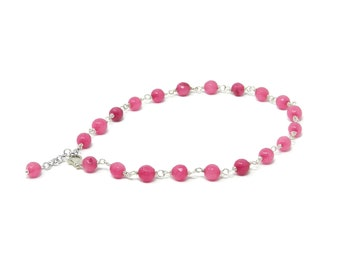 Anklet with Fuchsia Ruby Root Beads, Red Coral