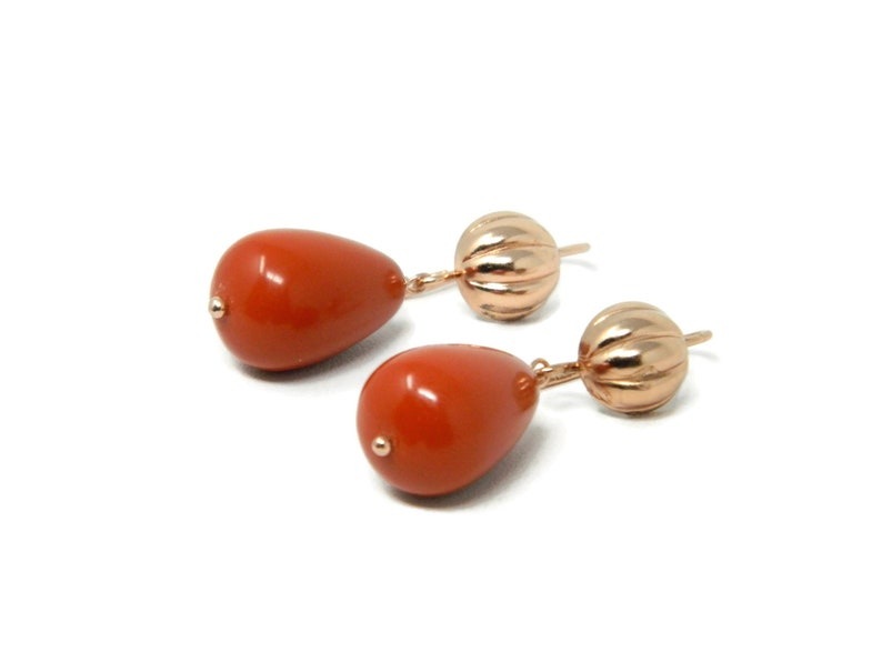 Rose Silver Earrings with Sardinia Red Coral Paste Flat Drops