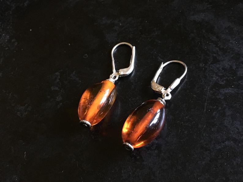 Simple amber earrings with sterling findings