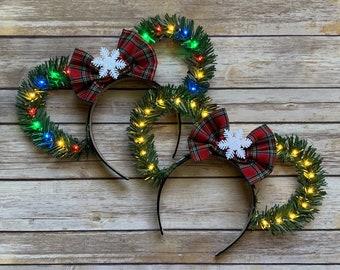 Christmas Disney Ears With Bow/ Wreath Ears/ Holiday Minnie Ears/ Christmas Tree Ears/ Light Up Disney Ears