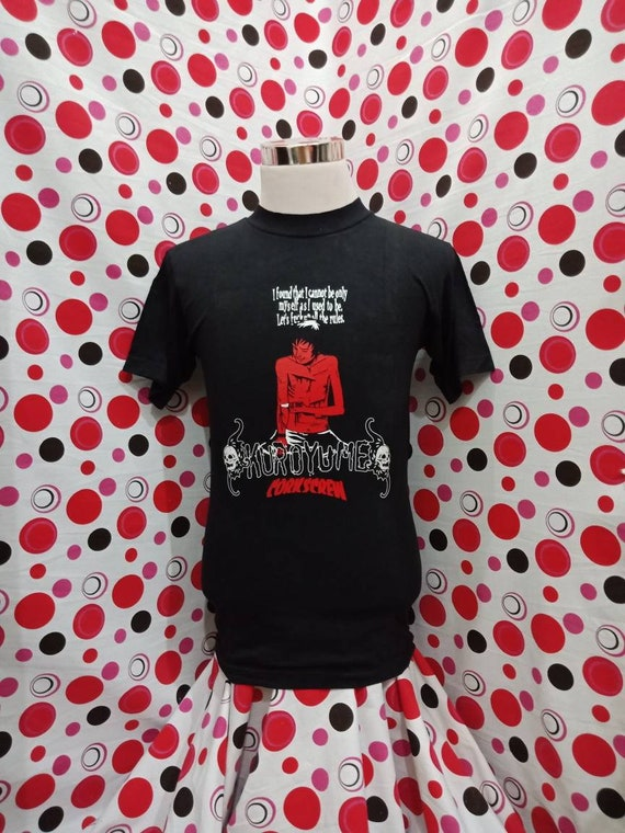 black colour punk corkscrew t shirt S japanese hardcore rock kuroyume band Vintage punk size gBqvTyw