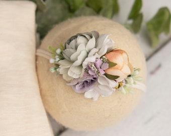 ready to SHIP Wrap and tieback set-newborn photography prop- floral crown headband and newborn stretch wrap-cream purple