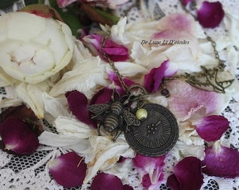 Bee and antique clock necklace