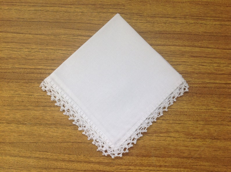 Handkerchief crocheted Ladies handkerchief Handmade Crochet lace Mother of the Bride   Wedding hankies Baptism Pioneer JW