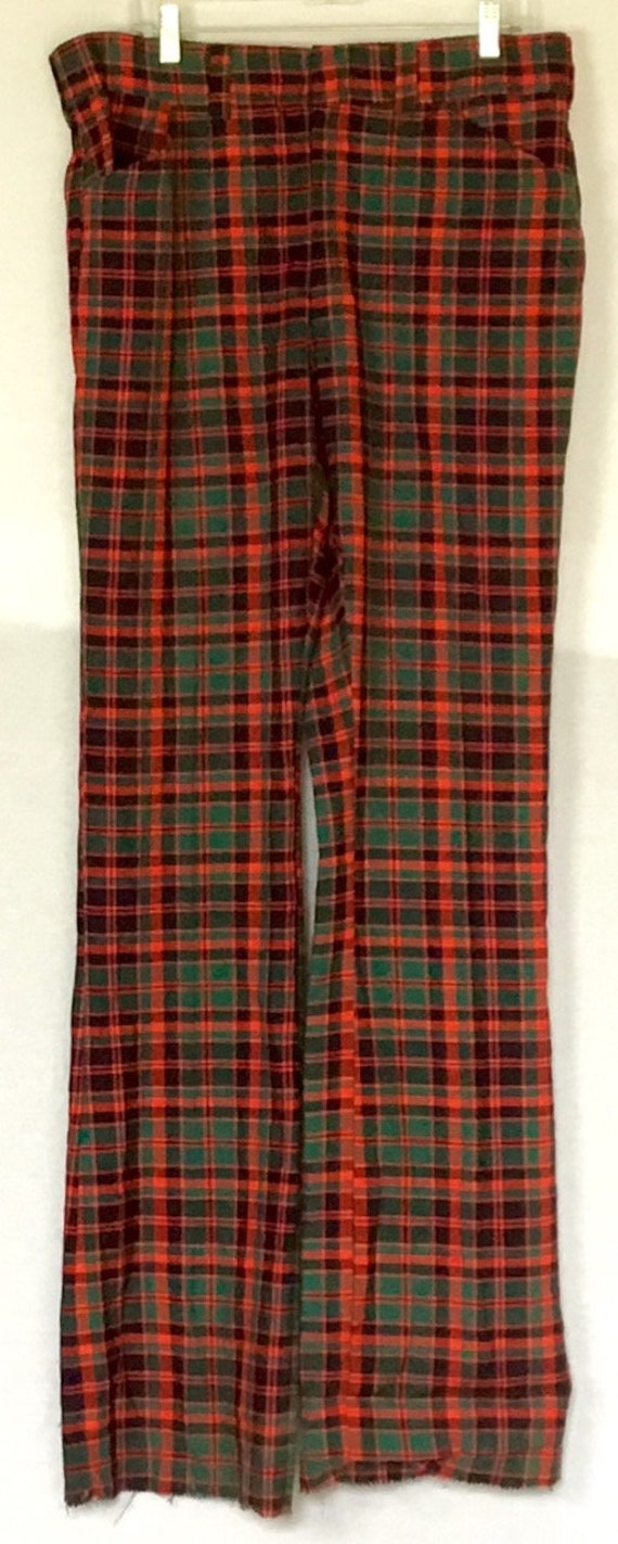 Vintage 1970s Red and Green Plaid Pants