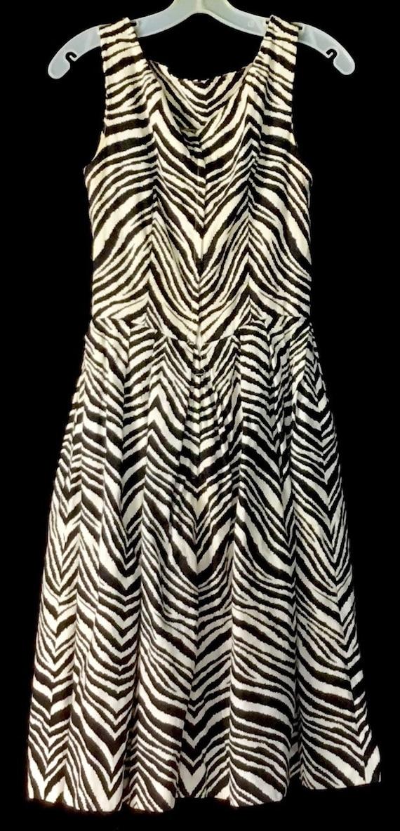 Vintage 1950s Gigi Young Zebra Print Dress - image 5