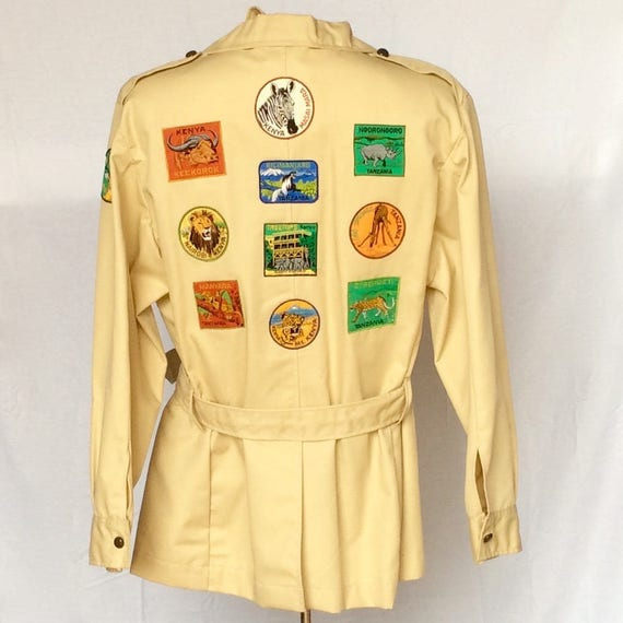 Safari Jacket with Vintage African Safari Patches