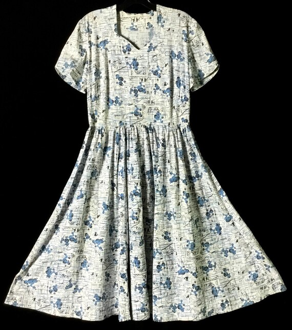 Vintage 1950s Poodle-Paris Print Dress - image 1
