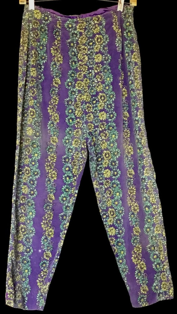 Vintage 1950s Velvet Flowered Pants