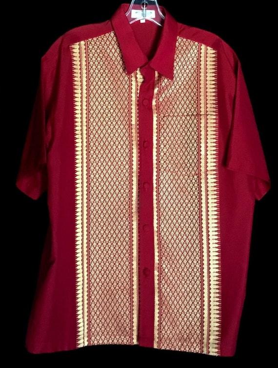 Vintage 1960s Men's Thai Silk Shirt