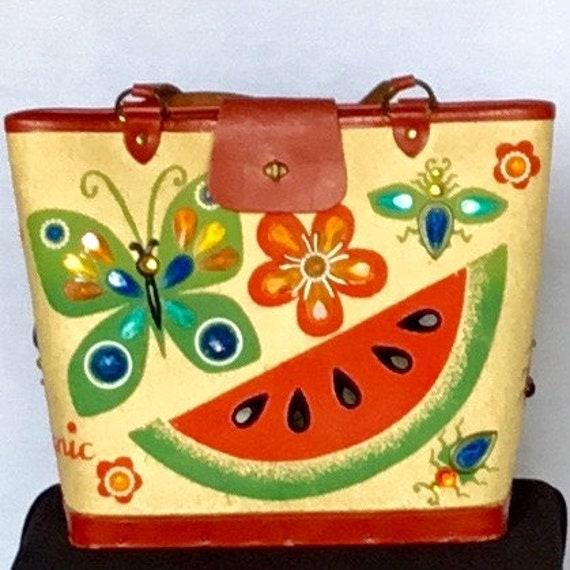 """Vintage 1970s Enid Collins """"Picnic"""" Handbag"""