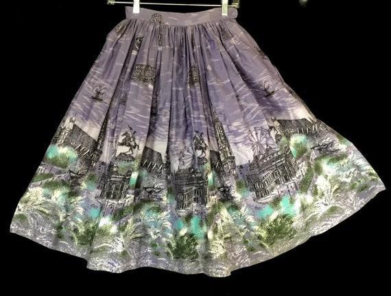 Vintage 1950s London Border Print Skirt
