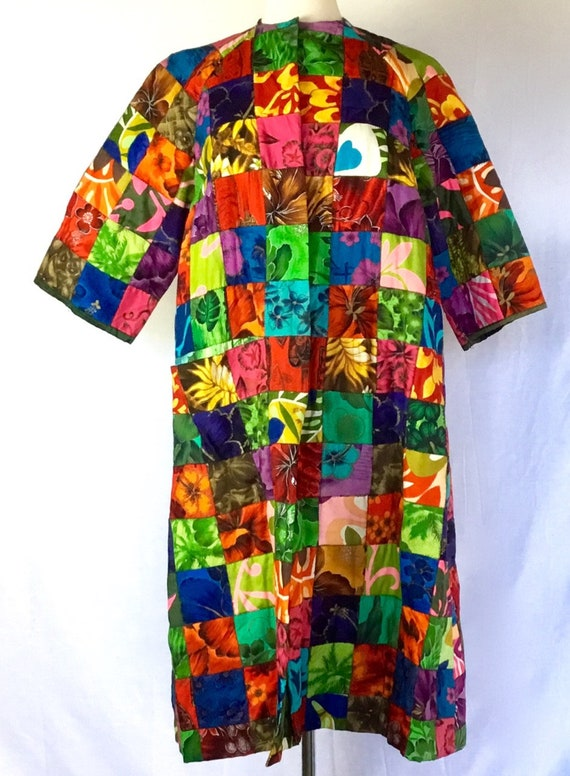 Vintage 1960s Hawaiian Patchwork Duster Coat