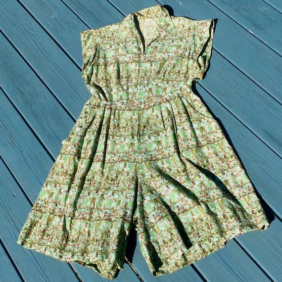 Vintage 1950s Egyptian Print Cotton Romper