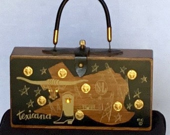 Vintage 1964 Enid Collins Texicana Wooden Handbag