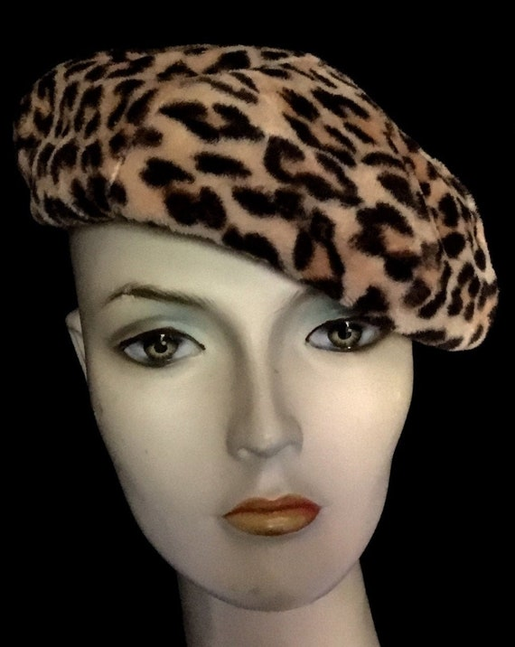 Vintage 1950s Valerie Mode Leopard Beret
