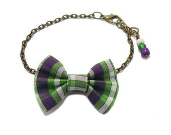 Strap bow tie, Tartan Plaid, green, Bronze chain.