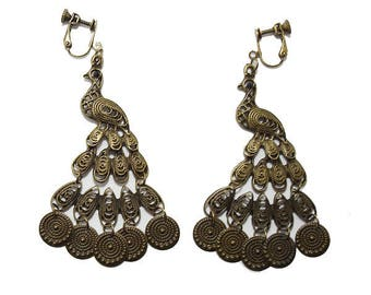 Clip earrings Peacock, Bronze.