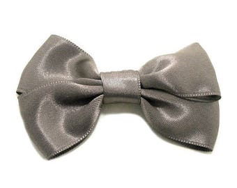 Beige Taupe Satin ribbon bow brooch.