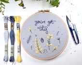 Positive affirmation Hand Embroidery Kit, Embroidery Kit, Craft Kit, grey and yellow , Embroidery kits, botanical embroider, embroidery hoop