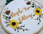 Personalised Home Sign, Hand Embroidered Sign, Floral wall art, Home Decor, Bespoke Gift, Hoop Art, embroidery art, wall art