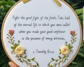 Inspirational Quote, Hand Embroidery, Bible Verse, Scripture, Bespoke Gift, Hoop Art, embroidery art, wall art, Quote Art, Inspirational