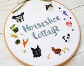 Personalised Hoop Art, Wall Art, Needle Painting, Commissioned Art, Embroidery Hoop Art, embroidery art, Woodland Creatures, Family Plaque