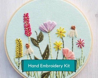 Spring Garden Hand Embroidery Kit, Embroidery Kit, Craft Kit, country garden, Embroidery kits, Garden flowers, embroidery hoop