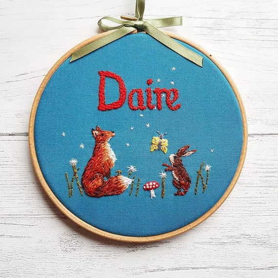 embroidery art Needle Painting Commissioned Art Woodland Creatures Wall Art Personalised Hoop Art Textile Art Embroidery Hoop Art