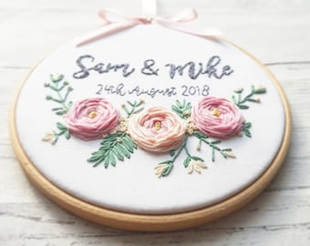 Personalised Wedding gift, Wedding gift, Floral wall art, Anniversary gift, Bespoke Gift, Embroidery Hoop Art, embroidery art, wall art
