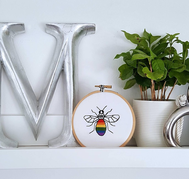 Embroidery HOOP art Manchester Bee prideArt Worker Bee image 0